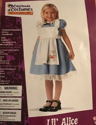 Lil' Alice In Wonderland Halloween Dress Up Play Costume Toddler M(3-4) Free S/H - Alice In Wonderland Halloween Costume Toddler
