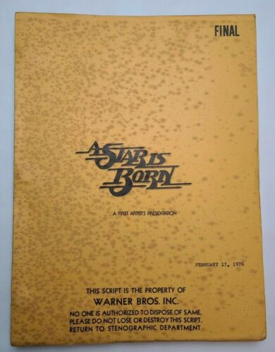 A STAR IS BORN / Joan Didion 1976 Screenplay, Barbra Streisand music romance
