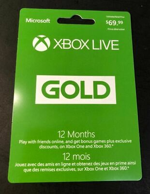 XBOX LIVE GOLD Membership Card [ 12 Month ] (XBOX ONE / XBOX 360) NEW Gift Card