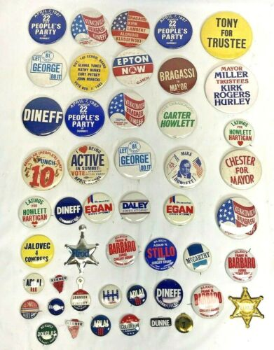 Vtg. Lot of 48 Vintage Political Pinbacks Pin Buttons Local & National 60s-80s