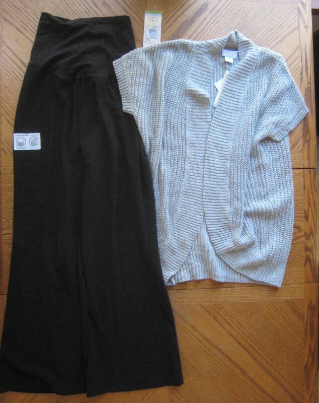 NEW Size Large Black Slacks & Grey Cardigan Maternity clothes LOT $114 retail L