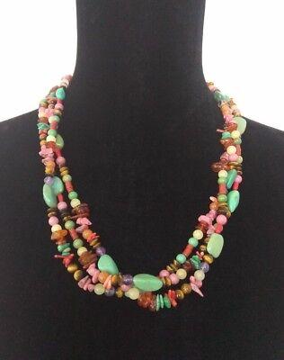 DAKOTA WEST Shubes Southwestern Multi Gemstone 3 Strand Necklace Sterling Silver Multi Gem 3 Strand
