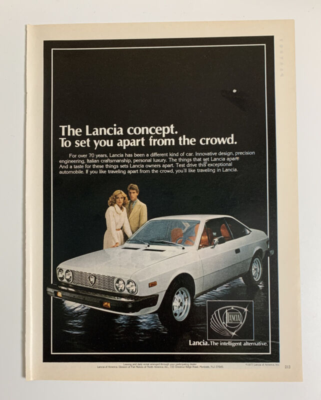 1978 Lancia Coupe Print Ad Concept The Intelligent Alternative Italy Made 2 Door