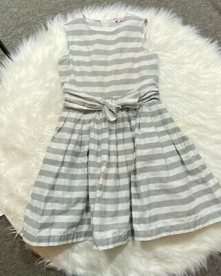 IL GUFO GREY LINEN STRIPED DRESS WITH BOW Size 10 Made In Italy