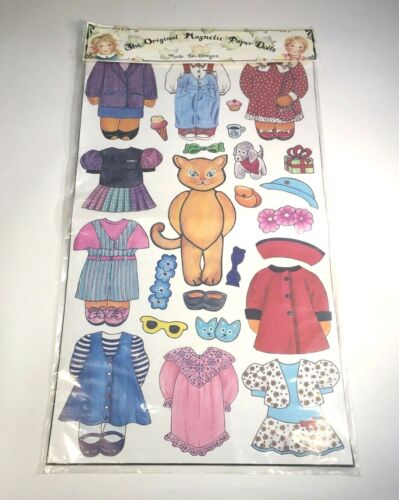 """Magnetic Paper Dolls Kitty Cat Theme Uncut Sheet 13.375"""" x 23.5"""" Made in Oregon"""
