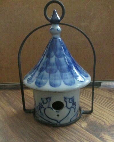 "Eldreth 2013 Pottery 12"" Salt Glaze Decorated Bird House Crock w Hanger 3Pcs"