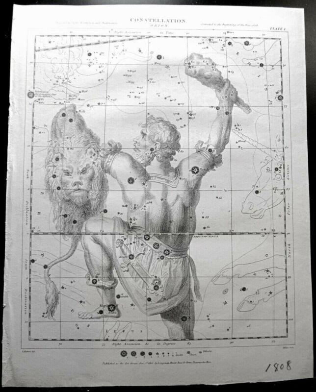 "HERBERT & MILTON c1808 Astronomy Engraving Constellation Of Orion 11"" x 9"""