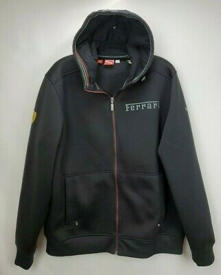 Puma Scuderia Ferrari Mens XL Black Track Jacket Hoody Full Zip Hooded Sweater