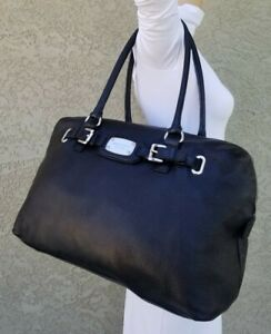 328fb7376950 Michael Kors Hamilton XL Weekender Luggage black Leather travel purse tote  Bag