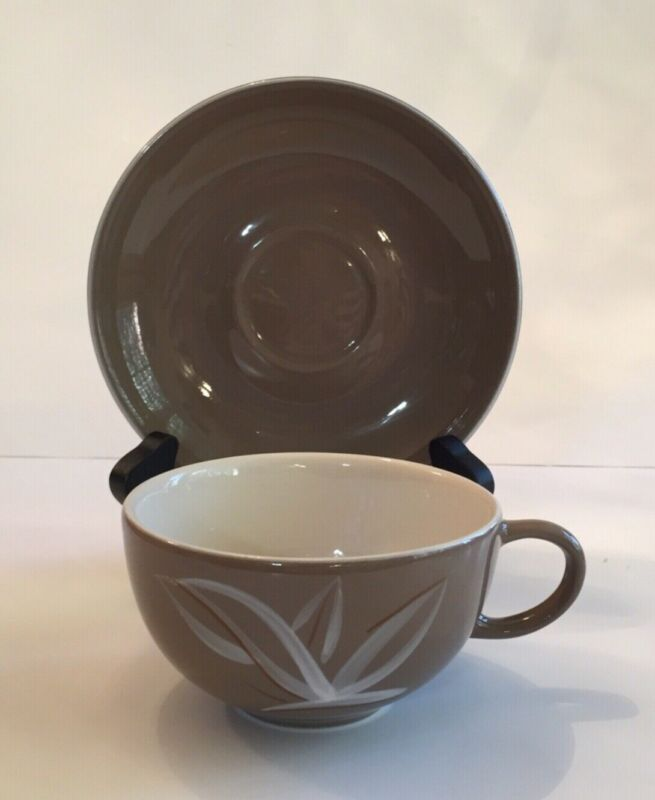MidCentury Winfield Desert Dawn Cup & Saucer Handcrafted 1950s Taupe Vintage