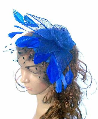 Mujer Elegante Azul Real Sinamay / Red y Plumas Tocado en el...