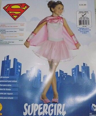 NEW Girl's Pink Supergirl Costume Dress Dress-up Sz Small 4 5 6 NWT - FREE SHIP (Pink Super Girl Costume)