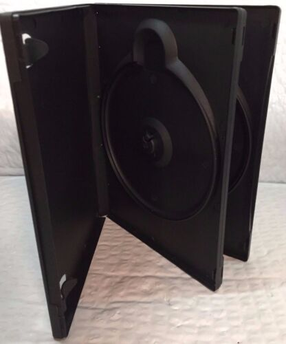 """1 Premium Black Multi Double Two [2] Discs (From New Media) DVD Case, 7/8"""" 20mm"""