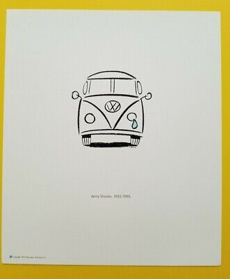 NOS Vintage Grateful Dead Jerry Garcia Memorial Poster with Crying VW Bus 1995
