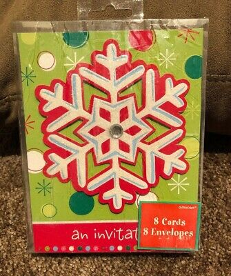 Holiday Buzz Snowflake Christmas Holiday Cocktail Party Deluxe Invitations 8 Ct