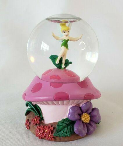 "Tinkerbell Snow Globe Mushroom Disney Store Small 2.75"" Glass Resin"
