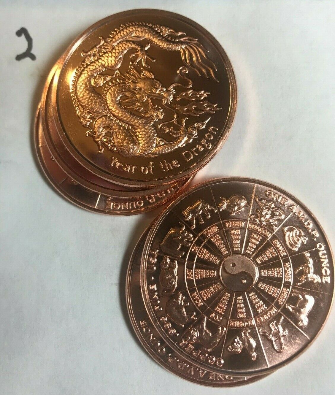 5-1 oz. copper rounds .999 fine Year Of the Dragon