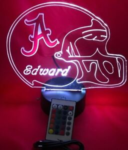 Alabama Crimson Tide Ncaa Football Light Up Lamp Led Remote Personalized Free