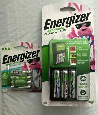 Energizer Recharge Value Charger with 4 AA and 4 AAA rechargeable batteries(New)
