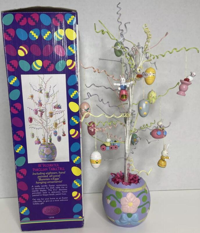 "Vintage 18"" Tall Porcelain Base Easter Tree Bunnies, Eggs, Spring, F3"