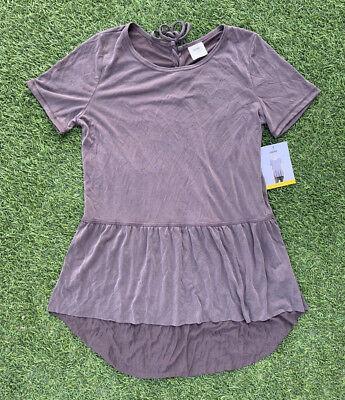 Tie Back Ruffle - Mote Women's Tunic Top Dusty Plum Ruffle Cute Tie Back Shirt Peplum Blouse NEW