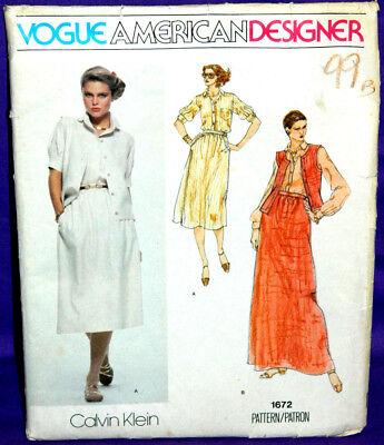 Uncut Vogue American Designer Calvin Klein Sz 8 Skirt, Vest & Shirt Pattern 1672