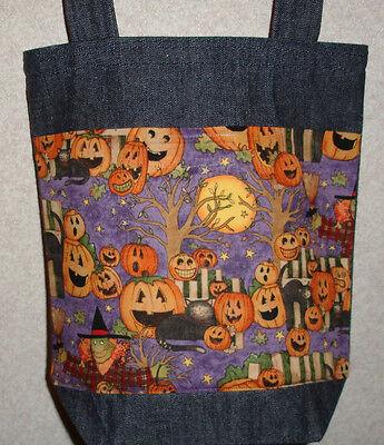 NEW Small Halloween Funny Witch Picket Fence Pumpkins Denim Treat Tote Bag ()