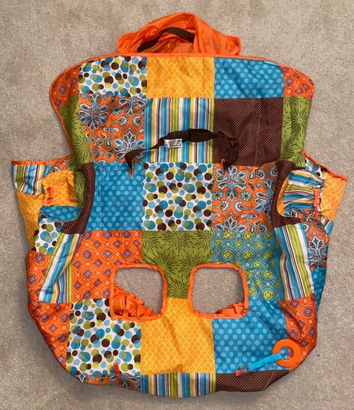 Infantino Green Blue Orange Brown Multiprint Shopping Cart Cover For Baby