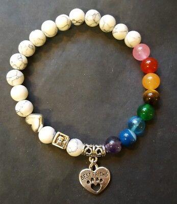 Personalized PET Cat/Dog MEMORIAL Paw Print Rainbow Bridge Stretch BRACELET