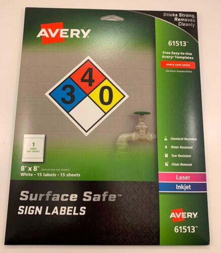 AVERY 8x8 SURFACE SAFE LABELS 61513 - 15 LABELS BRAND NEW Free Shipping!