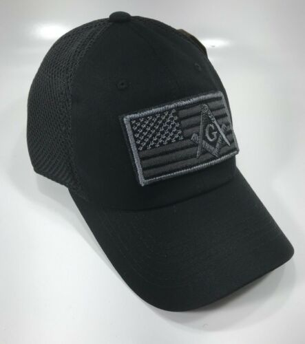 Mason, Freemason cap, USA Flag With Mason Patch cap  black color