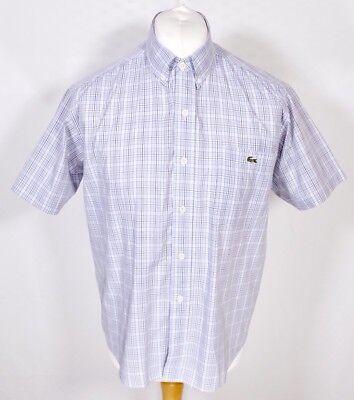 Vintage Lacoste White Blue Check Shirt M L Short Sleeve Button Down The Best
