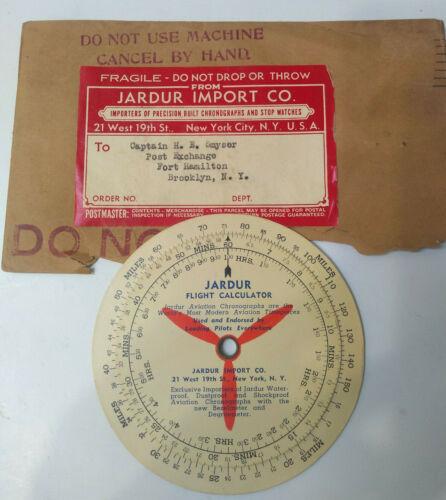 Rare Vintage US Navy JARDUR Flight Calculator w/ Original Envelope & Label 1940s