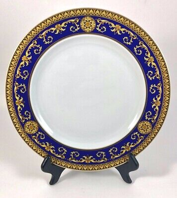 """Versace Rosenthal BLUE MEDUSA 10.5"""" Dinner Plate EXCELLENT PRE-OWNED CONDITION!!"""