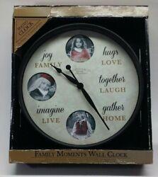 Photo Clock Family Moments Wall Clock Holds 3 Three Inch Round photos