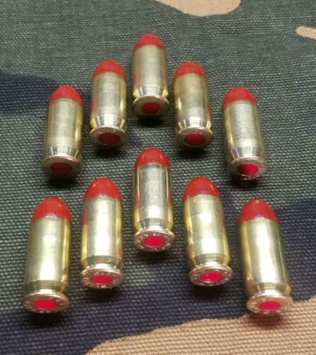 45 ACP SNAP CAPS  SET OF 10 (RED+BRASS) REAL WEIGHT!!!