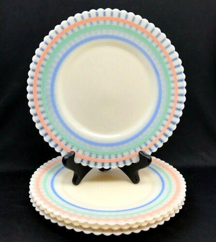 "Set of 4 Macbeth Evans Petalware Monax / Cremax Pastel 8"" Salad, Luncheon Plates"