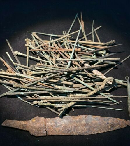 Ancient large bronze roman nail
