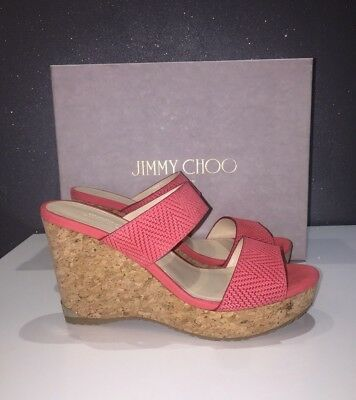 NIB Jimmy Choo Parker Cork Wedge Sandal Flamingo Red Slide 9.5US/39.5EU $450