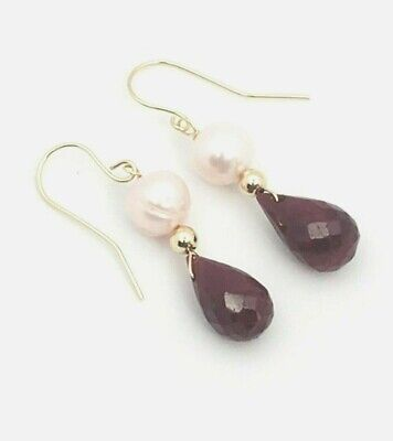 14k Yellow Gold Genuine Red Ruby Briolette and Pink Pearl Drop/Dangle Earrings