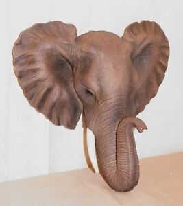 NEW AFRICAN ELEPHANT HEAD BUST WALL HANGING SAFARI DECOR LIFE LIKE 9