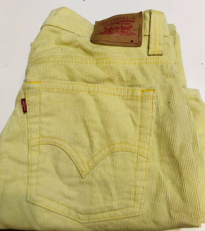 Levis Vintage Yellow Corduroy Jeans Bell Bottoms Low Slouch Sz 13 Junior M