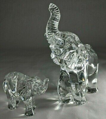 Waterford Crystal Mother and Baby Elephant Figurines