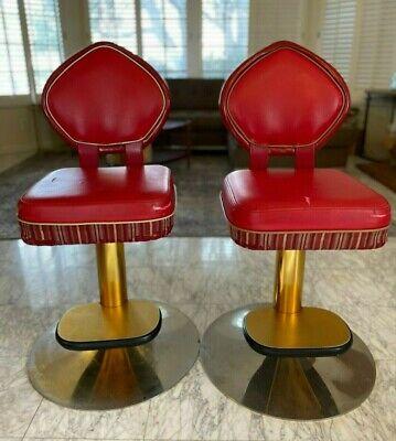 Rare SARAHA casino Red Swivel Slot Machine Chairs