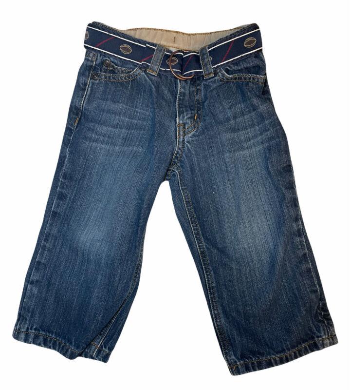 Janie and Jack Baby Boy Size 18-24 Months Blue Denim Jeans Football Belt