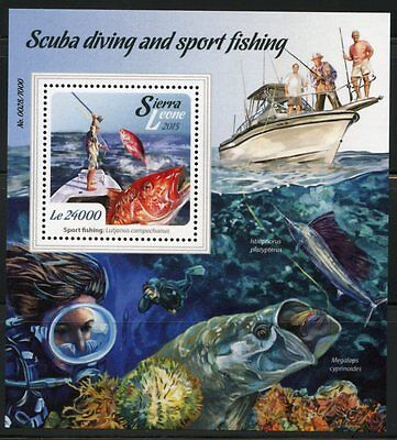 SIERRA LEONE 2015 SCUBA DIVING AND SPORT FISHING  SOUVENIR SHEET     MINT NH