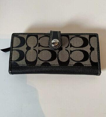 Coach Black Signature Patent Leather Envelope Bag Wallet Turnlock Bifold Clutch
