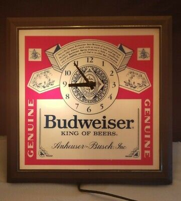 Vintage 80's Budweiser King of Beers Lighted Sign Clock 100% Working