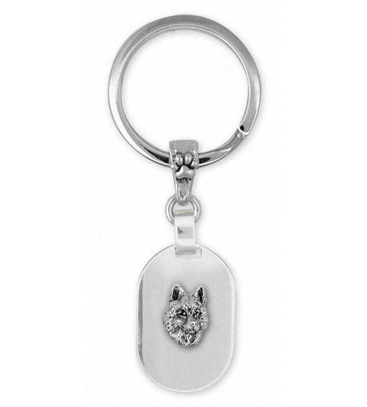 Siberian Husky Key Ring Jewelry Sterling Silver Handmade Dog Key Ring SB3-KR