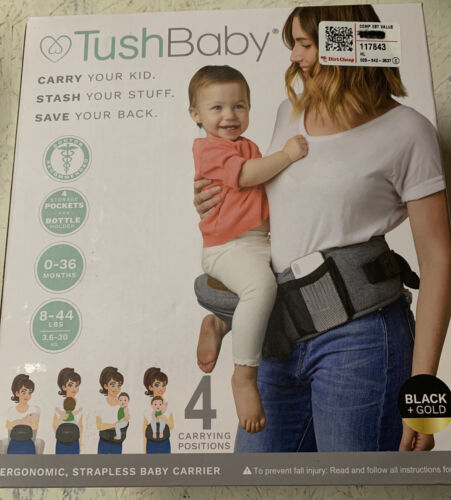 Tush Baby Hip Baby Toddler Carrier Black/ Gold - NEW Free Shipping - $64.95